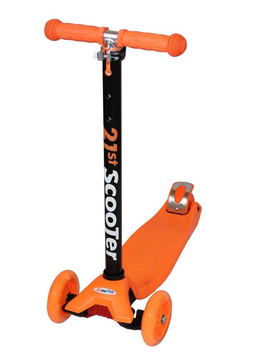 Самокат SCOOTER Maxi Micro со светящимися колесами Оранжевый