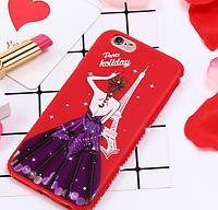 Красный силиконовый чехол с фиолетовой девушкой и камушками Swarovski для iPhone 6/6S