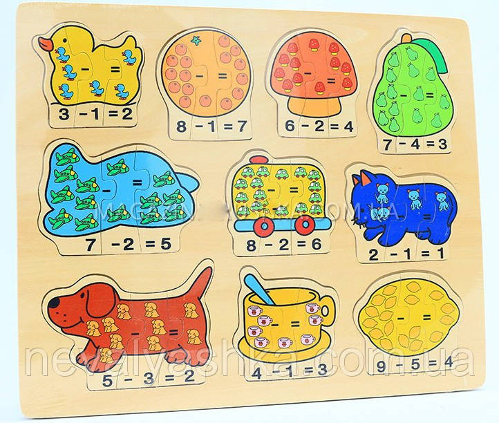 Деревянная игрушка Пазл Вкладыш плюс - минус счёт, 5076, 5077, 3914 006576 001737