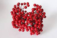Глянцевые ягоды красного цвета (калина) около 40 шт/уп. крупные 1 см диаметр, фото 1