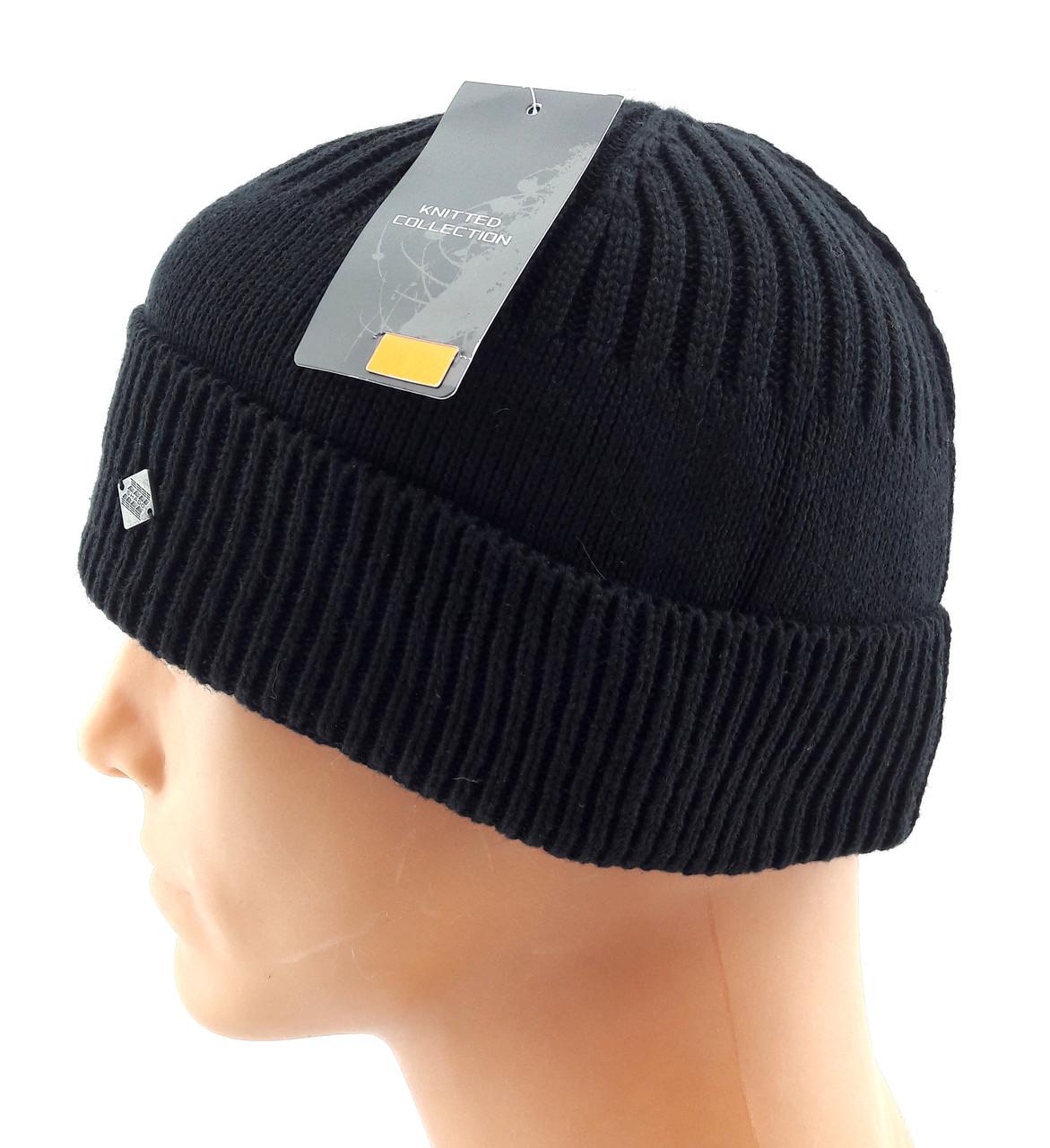 вязаная шапка мужская с заворотом Shado 57 62 размер глубокая шб68