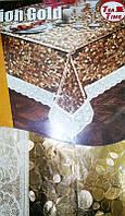 Скатерть 120*150 см с покрытием под золото на подложке NON WOVEN с кружевом