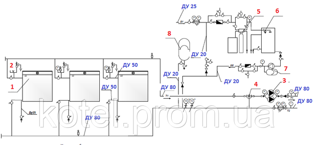 Гидравлическая схема котельной КМ-2-300 1.100 СЕТ