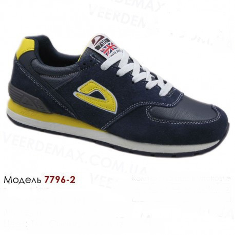 Кроссовки Demax - 7796-2 кожаные 41-46 темно синие, желтые.