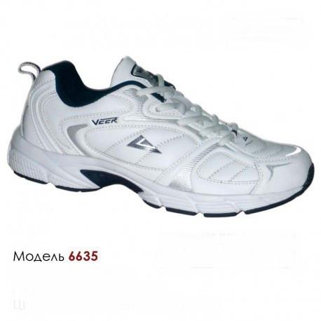 Кроссовки Veer 41-46, кожа,  6635-1 белые, синие вставки.
