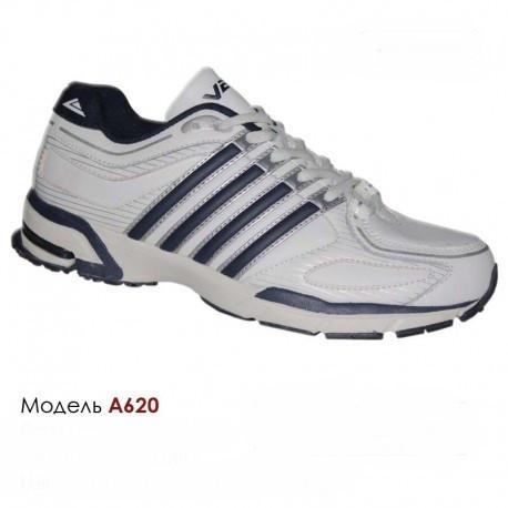 Кроссовки Veer  41-46, кожа,  A620 белые, синие вставки