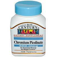Хром пиколинат  200 мкг  100 таб  снижение сахара холестерина для похудения  21st Century USA