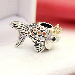Серебряно-золотой шарм «Золотая рыбка»
