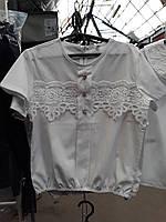 Блузка школьная для девочки с кружевом