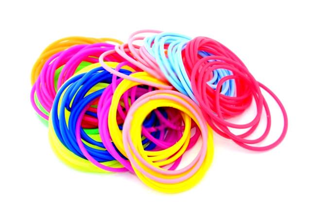 Резинки для волос силиконовые тонкие яркие в асортименте 10 цветов