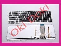 Клавиатура HP ENVY 15-J 15T-J 15Z-J 17-J 17T-J m6-n000 m6-n100 m6-w100 с серой рамкой и подсветкой (ушки снизу