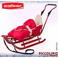 Комплект ADBOR PICCOLINO санки+ручка+конверт+подножки красные