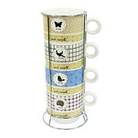 Набор чашек на 4 персоны на подставке Милый дом 250 мл ( чайный набор )