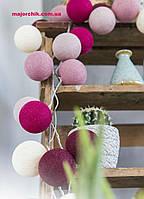 Гирлянда шарики хлопковые фонарики 50шт закольцованные петлей 4,5м от сети, фото 1