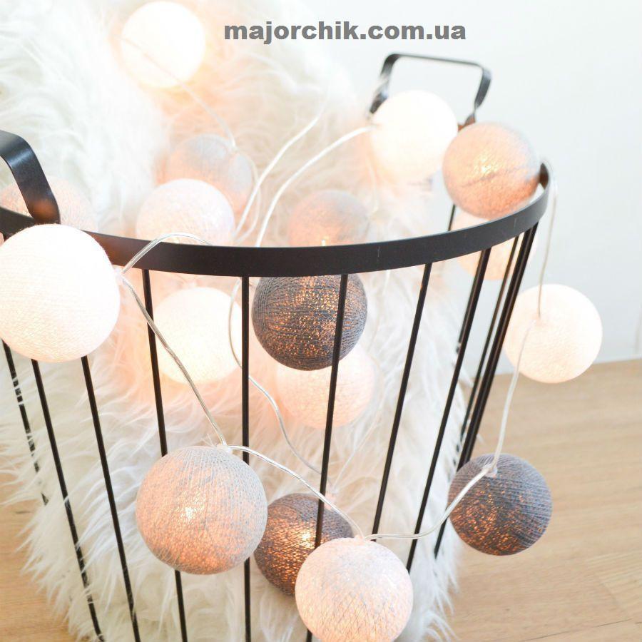 Гирлянда шарики хлопковые фонарики LED 35шт в линию 5.5мм от сети