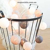 Гирлянда шарики хлопковые фонарики LED 35шт в линию 5.5мм от сети, фото 1