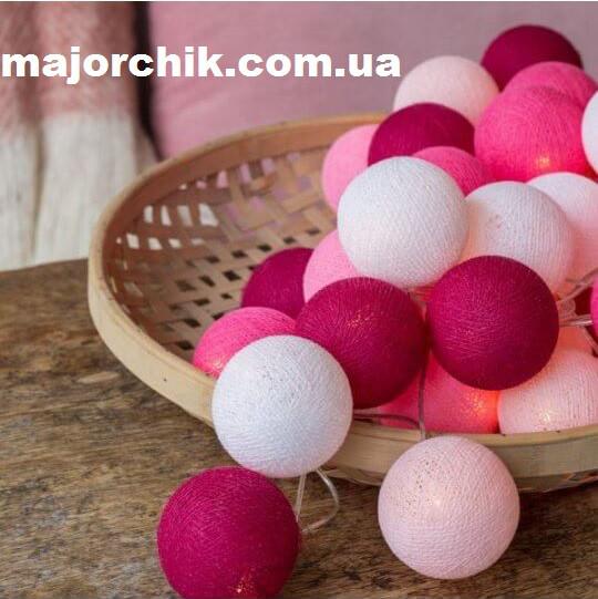 Гирлянда шарики хлопковые фонарики 20шт закольцованные петлей 2,7м от сети