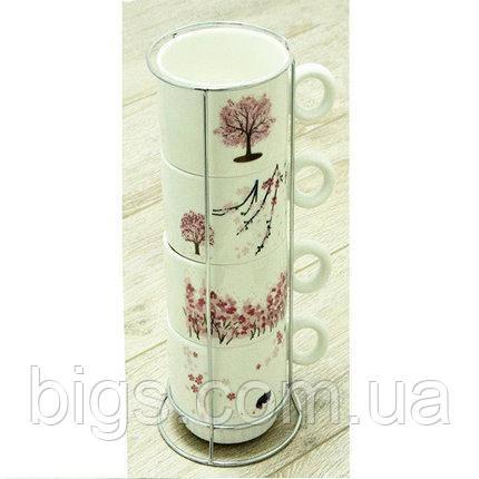 Набор чашек на 4 персоны с подставкой Сакура 250 мл ( чайный набор )