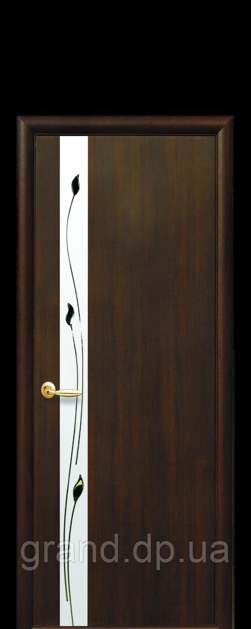 Межкомнатная дверь Злата ПВХ DeLuxe со стеклом сатин и рисунком, цвет каштан