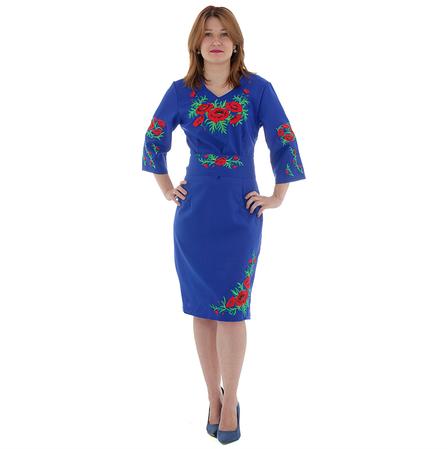 Платье льняное женское СОЛОМИЯ электрик с вышивкой , фото 2