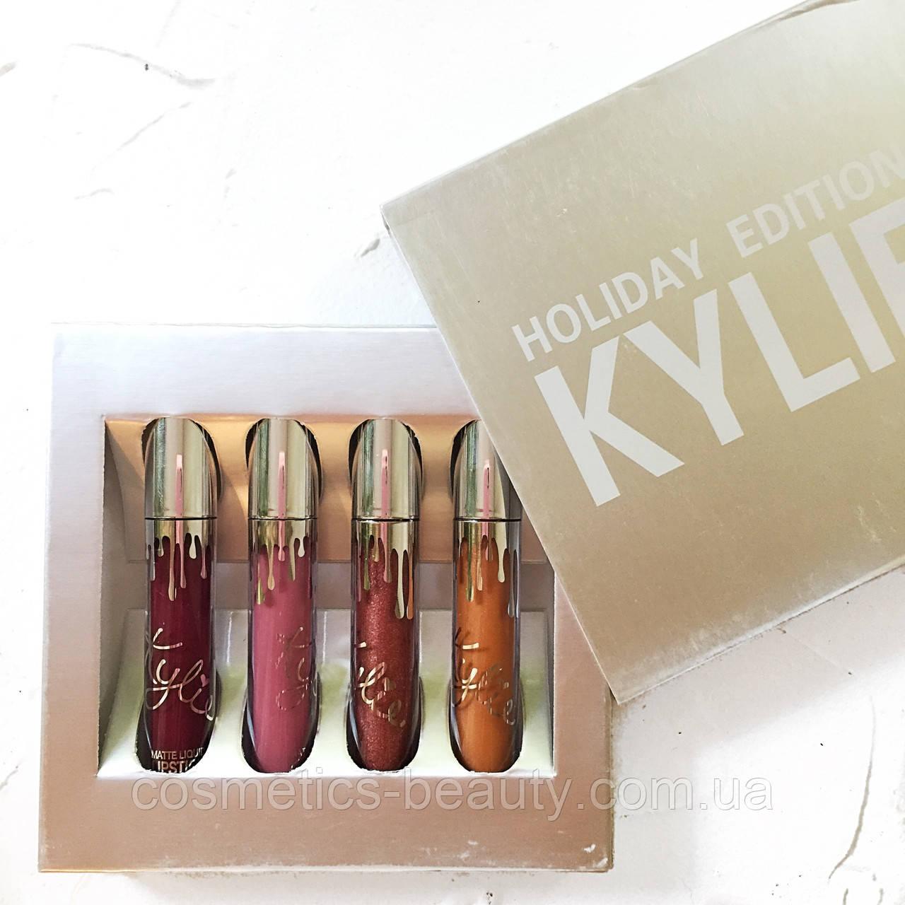 Матовые помады Kylie Holiday Edition (4шт.) (реплика)., фото 1