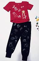 """Костюм блуза футболка детская с ручной росписью """"Девочка и одежки"""" и штанишки Комплект дівчинці"""