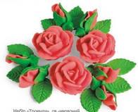 """Сахарное украшение для торта """"Букет роз"""" (набор из 3 шт)"""