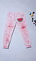 Джинси дитячі рожеві літні дирки з кавунчиком на резинці стрейчеві 110