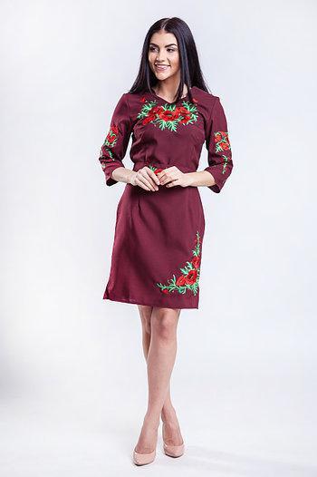 Платье женское СОЛОМИЯ бордо с вышивкой