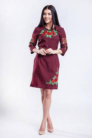 Платье женское СОЛОМИЯ бордо с вышивкой, фото 2