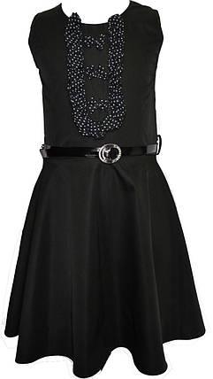 Детский школьный модный красивый сарафан Аня с бантиками и поясом черный, р. 122, фото 2