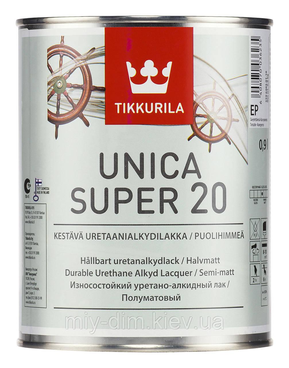 Лак Уніка Супер напівмат, 9л, паркетний, для човнів / Tikkurila