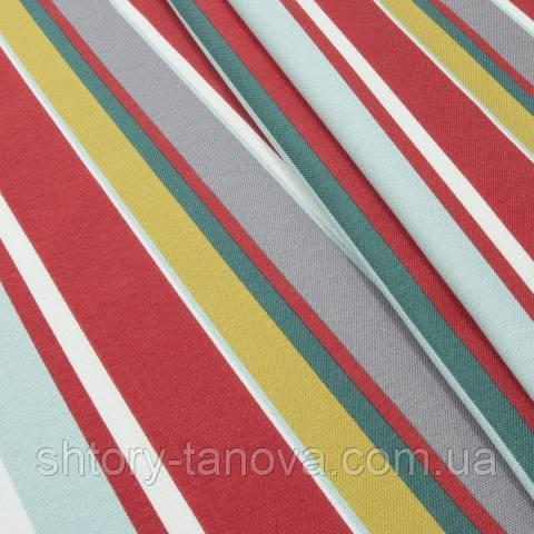 Декоративна тканина для штор смуги зелено-червоний