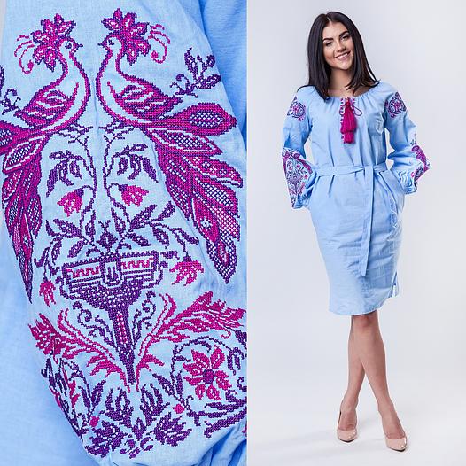 Платье женское Жар Птица в украинском стиле (голубой с сиреневым)
