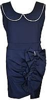 Детский школьный модный сарафан  с воротничком Катя и бантом сбоку синий, р. 122