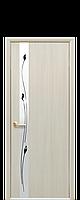 Межкомнатная дверь  Злата Экошпон со стеклом сатин и рисунком, цвет дуб жемчужный