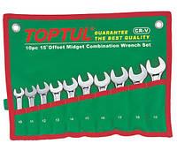 Набор ключей рожково-накидных укороченных, 10 предметов, 10-19 Toptul GAAA1002