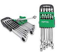 Набор ключей рожково-накидных с трещоткой 12 предметов 8-19 мм Toptul GSCQ1001