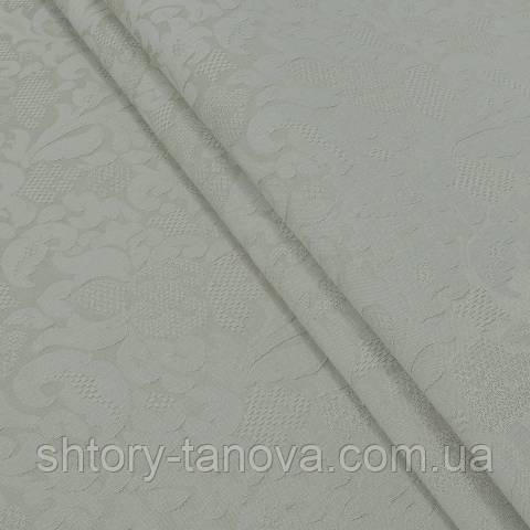 Декоративная ткань для штор, цветочный вензель, бежево-серый