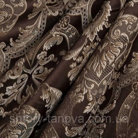 Декоративная ткань для штор с принтом коричневый