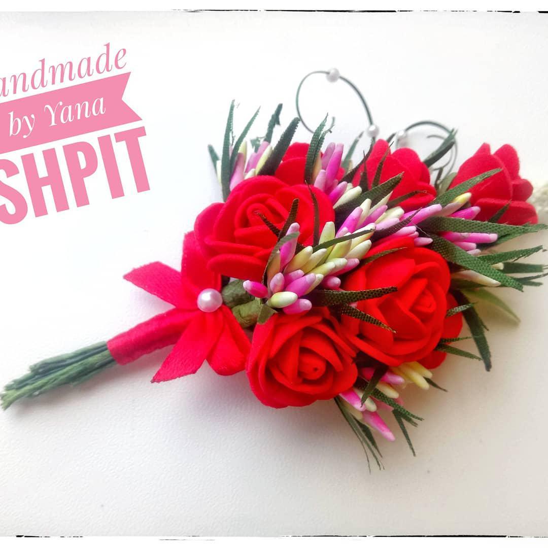 Свадебные бутоньерки в красном цвете ручная работа