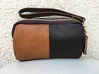 Косметичка из натуральной кожи Bindo Duos, рыжий+коричневый
