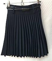 Школьная подростковая юбкадля девочки 9-14лет,плиссированная темно синего цвета, фото 1