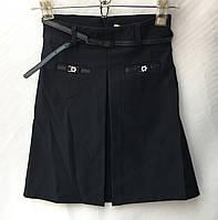 Школьная детская юбкатрапецией для девочки 7-12лет,темно синего цвета с ремнем, фото 1