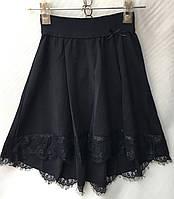Школьная детская юбка для девочки 7-12лет,темно синего цвета с шлейфом, фото 1