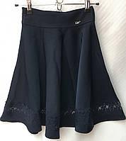Школьная подростковая юбка с кружевной вставкой для девочки от 9 до 14лет,темно синего цвета , фото 1
