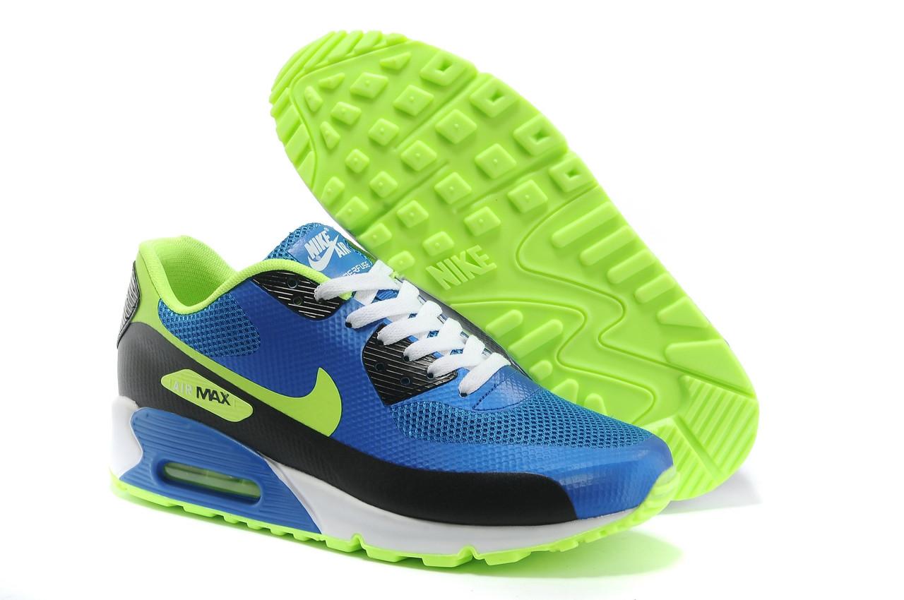 2f53c6ae Мужские кроссовки Nike Air Max 90 Hyperfuse синие с салатовым - Обувь и  одежда с доставкой