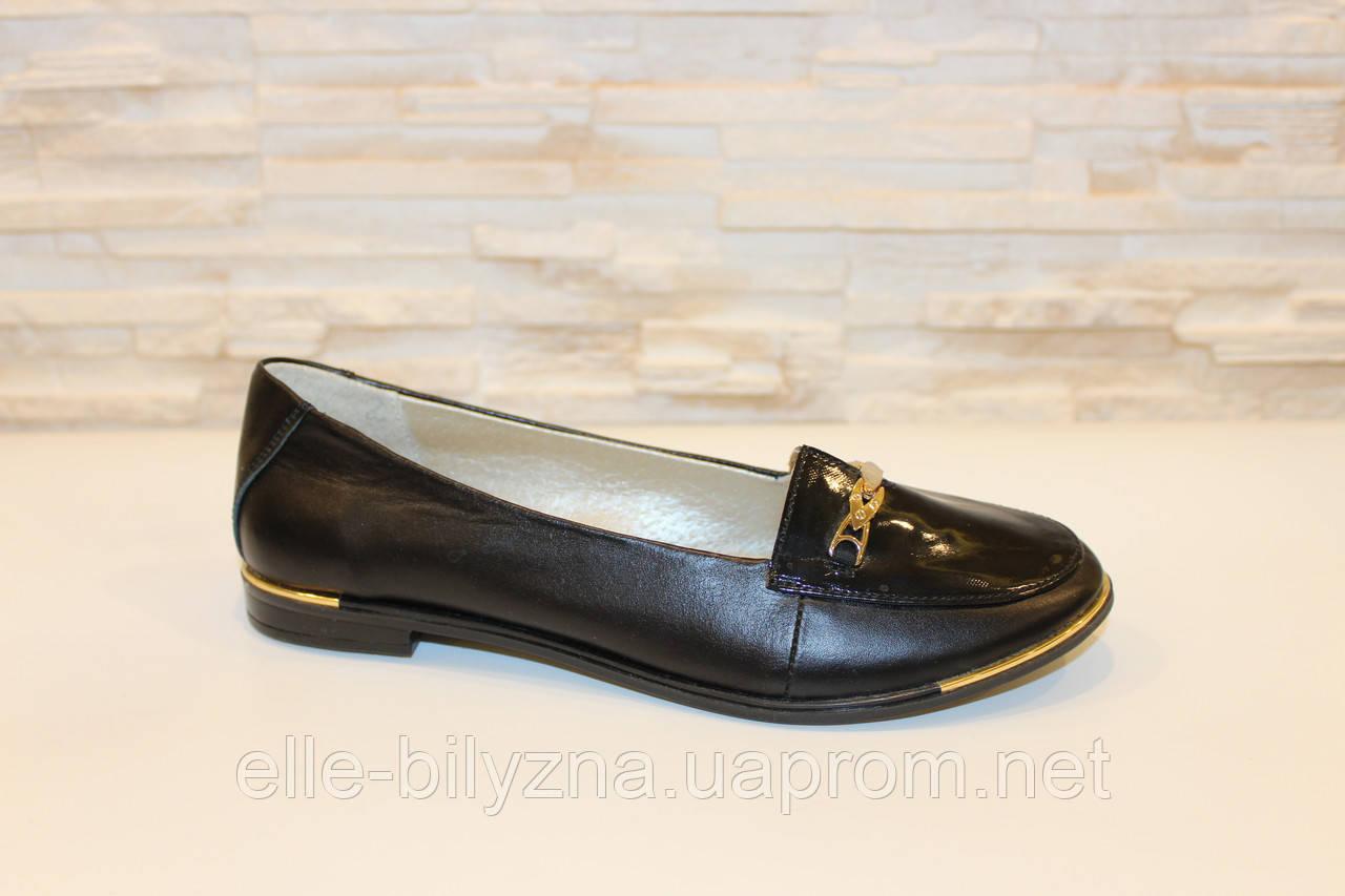 Туфли женские черные натуральная кожа Т371