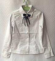 Блузка школьнаядетская для девочки с бантиком 7-12лет, белого цвета, фото 1
