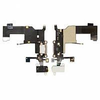 Шлейф для Apple iPhone 5, с разъемом зарядки, с коннектором наушников, с микрофоном, белый